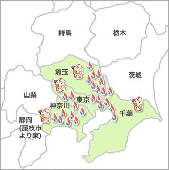 関東の出張所MAP